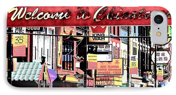 Welcome To Chinatown Sign Red Phone Case by Marianne Dow