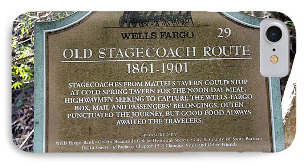 Wells Fargo Stage Coach Sign IPhone Case by Jeff Lowe