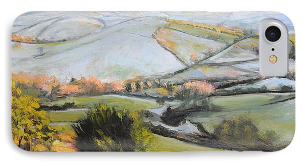 IPhone Case featuring the painting Welsh Landscape In Winter by Harry Robertson