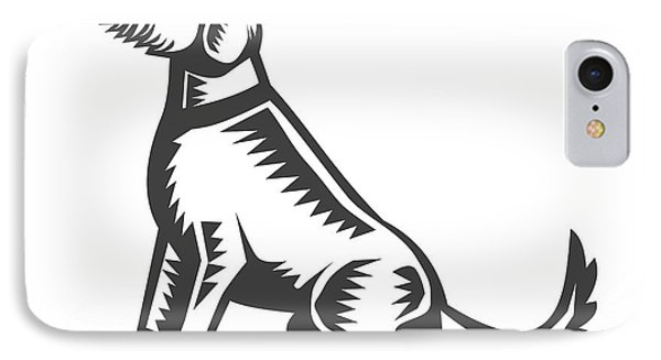 Welsh Terrier Sitting Woodcut  IPhone Case