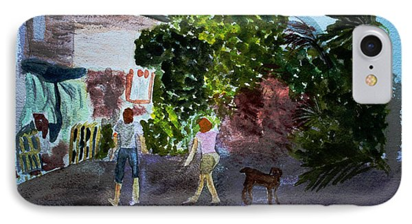 IPhone Case featuring the painting West End Shopping by Donna Walsh