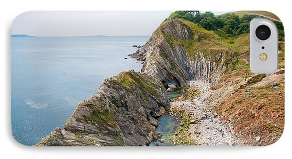 West Lulworth Lagoon The Natural Lagoon Behind The Jurassic Cliffs West Of Lulworth Cove Dorset Phone Case by Andy Smy