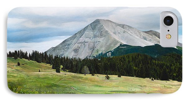 IPhone Case featuring the painting West Spanish Peak In Summer by Joshua Martin