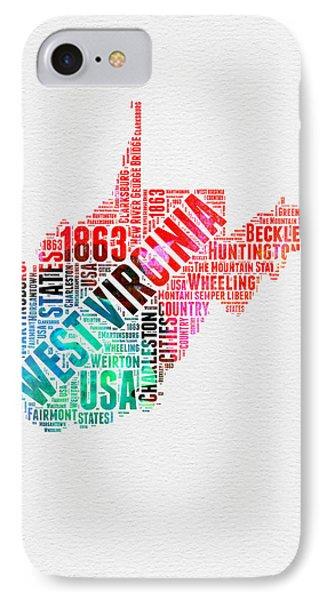 West Virginia Watercolor Word Cloud Map  IPhone Case