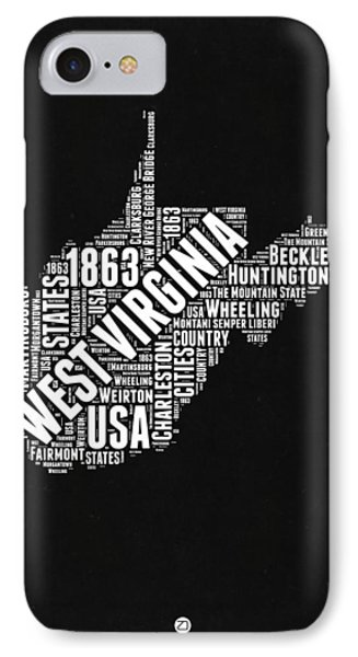 West Virginia Word Cloud Black And White Map IPhone Case