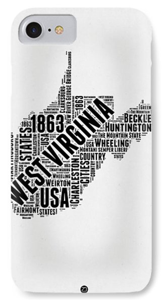 West Virginia Word Cloud Map 2 IPhone Case by Naxart Studio