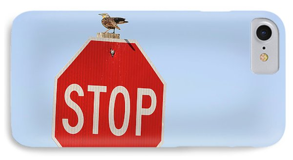 Western Meadowlark Singing On Top Of A Stop Sign Phone Case by Louise Heusinkveld