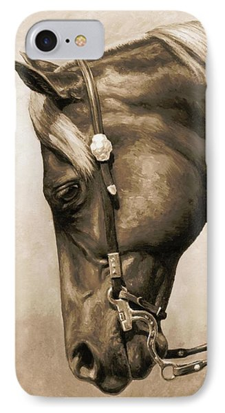 Western Pleasure Horse Phone Case In Sepia IPhone Case by Crista Forest