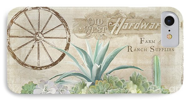 IPhone Case featuring the painting Western Range 4 Old West Desert Cactus Farm Ranch  Wooden Sign Hardware by Audrey Jeanne Roberts