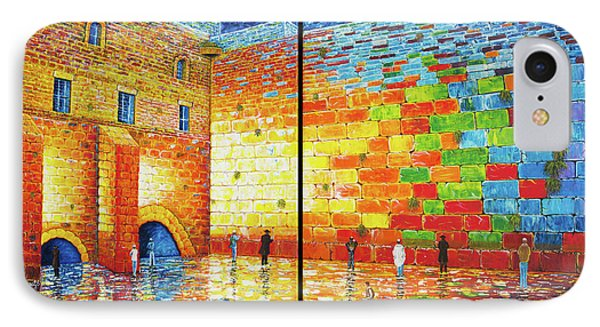 IPhone Case featuring the painting Western Wall Jerusalem Wailing Wall Acrylic Painting by Georgeta Blanaru