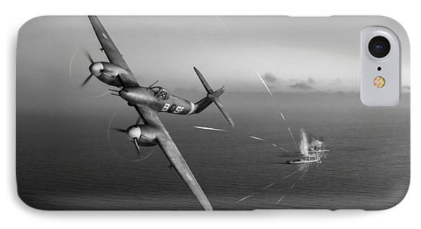 IPhone 7 Case featuring the photograph Westland Whirlwind Attacking E-boats Black And White Version by Gary Eason