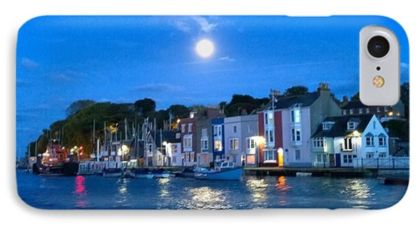 Weymouth Harbour, Full Moon IPhone Case by Anne Kotan