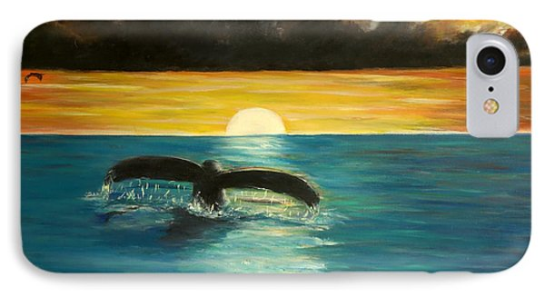 Whale Tail At Sunset  IPhone Case by Bernadette Krupa