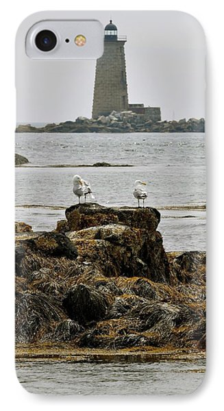 Whaleback Lighhouse From Fort Constitution IPhone Case by Rick Frost
