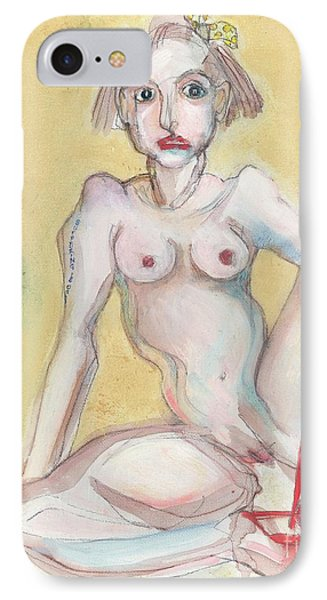 IPhone Case featuring the painting What It Was Really Like - Self Portrait by Carolyn Weltman