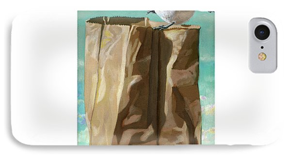 IPhone Case featuring the painting What's In The Bag Original Painting by Linda Apple