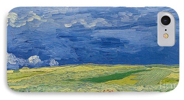 Wheatfields Under Thunderclouds IPhone Case by Vincent Van Gogh