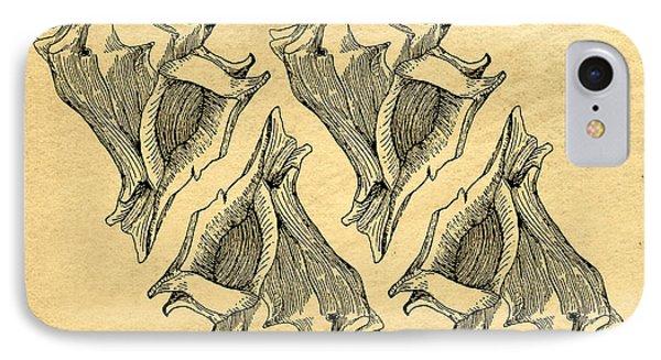 IPhone Case featuring the digital art Whelk Seashells Vintage by Edward Fielding