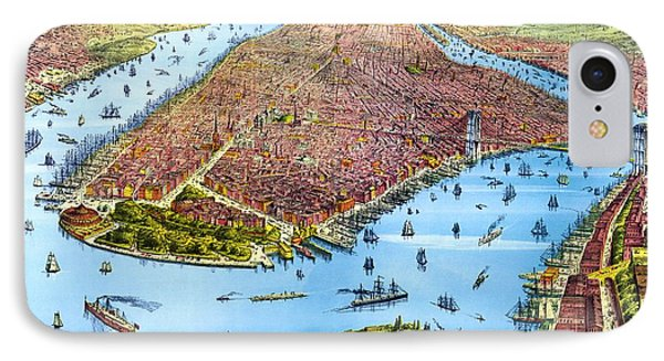 When New York Was Flat, Vintage Map, 1879 IPhone Case