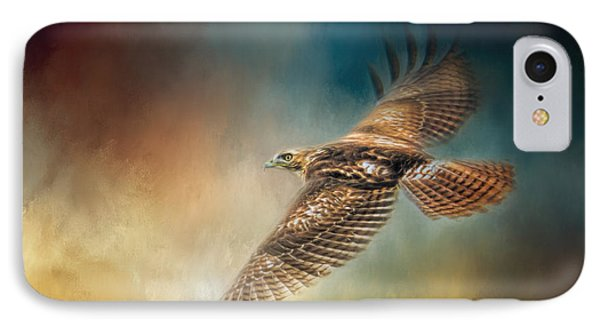 When The Redtail Flies At Sunset Hawk Art IPhone Case by Jai Johnson