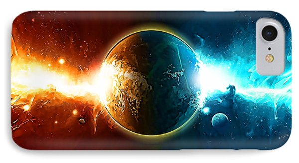 When Worlds Collide In Space IPhone Case by Elaine Plesser