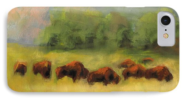 IPhone Case featuring the painting Where The Buffalo Roam by Frances Marino