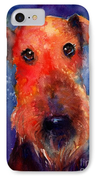 Whimsical Airedale Dog Painting IPhone Case by Svetlana Novikova