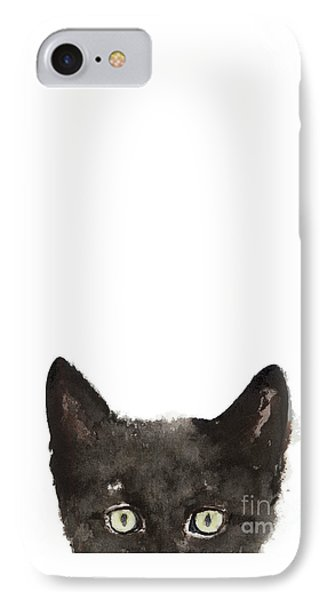 Whimsical Cat Poster, Funny Animal Black Cat Drawing, Peeking Cat Art Print, Animals Painting IPhone Case by Joanna Szmerdt