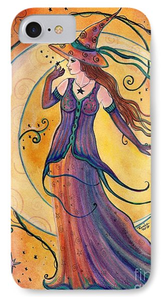 Whimsical Evening Witch IPhone Case by Renee Lavoie