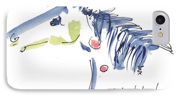 Whimsical Horse Head Watercolor Painting By Kmcelwaine IPhone Case