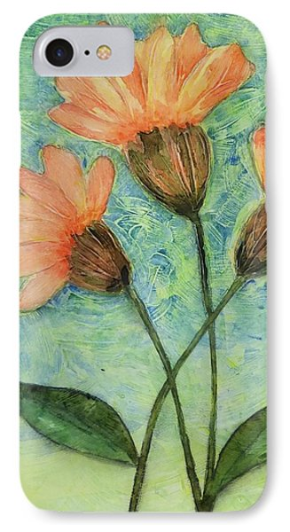 Whimsical Orange Flowers - Phone Case by Helen Campbell