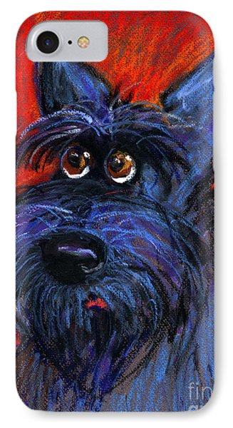 whimsical Schnauzer dog painting IPhone Case by Svetlana Novikova