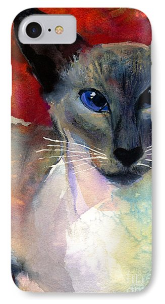 Whimsical Siamese Cat Painting IPhone Case