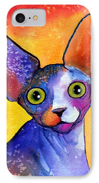 Whimsical Sphynx Cat Painting IPhone Case by Svetlana Novikova