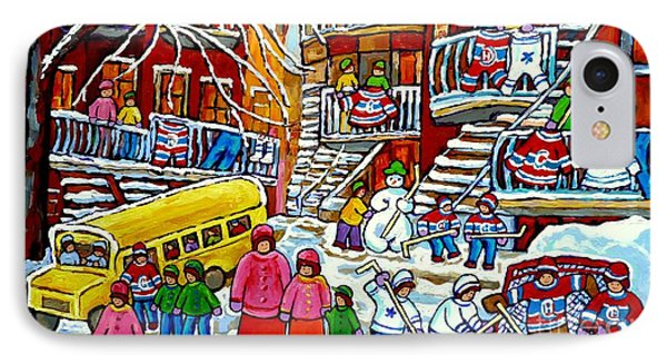 Whimsical Winter Wonderland Snowy School Bus Montreal Story Book Scene Hockey Art Carole Spandau     IPhone Case by Carole Spandau