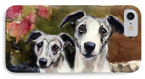 Whippets IPhone Case by Molly Poole