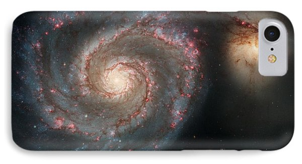 Whirlpool Galaxy And Companion  IPhone Case by Hubble Space Telescope
