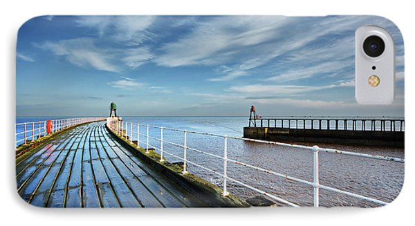 Whitby Piers IPhone Case by Nichola Denny