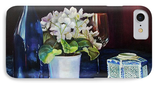 IPhone Case featuring the painting White African Violets by Marlene Book