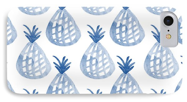 White And Blue Pineapple Party IPhone 7 Case by Linda Woods