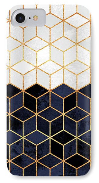 White And Navy Cubes IPhone 7 Case by Elisabeth Fredriksson