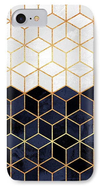 White And Navy Cubes IPhone Case by Elisabeth Fredriksson