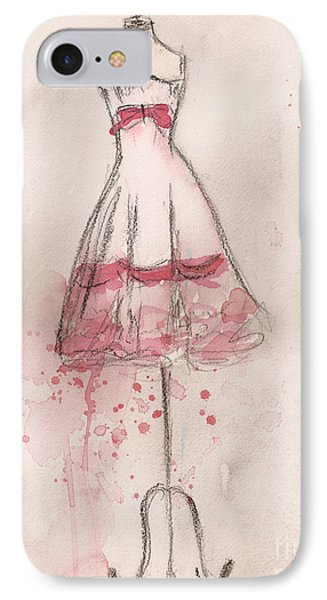 White And Pink Party Dress Phone Case by Lauren Maurer