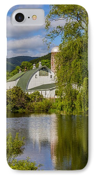 IPhone Case featuring the photograph White Barn Reflection In Pond by Paula Porterfield-Izzo