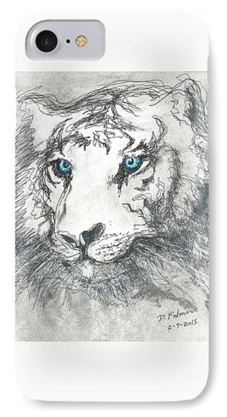 White Bengal Tiger IPhone Case by Denise Fulmer