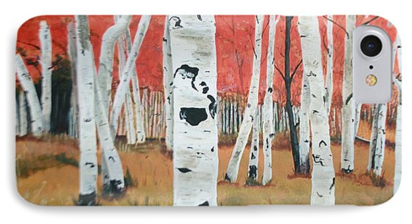 IPhone Case featuring the painting White Birches by Betty-Anne McDonald