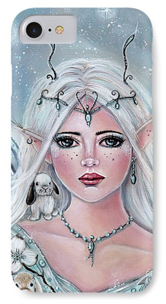 White Blossom Elf IPhone Case by Renee Lavoie