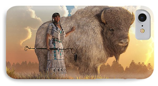 White Buffalo Calf Woman IPhone Case by Daniel Eskridge