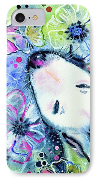 IPhone Case featuring the painting White Bull Terrier And Butterfly by Zaira Dzhaubaeva