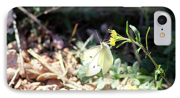 White Butterfly On Goldenseal Phone Case by Colleen Cornelius